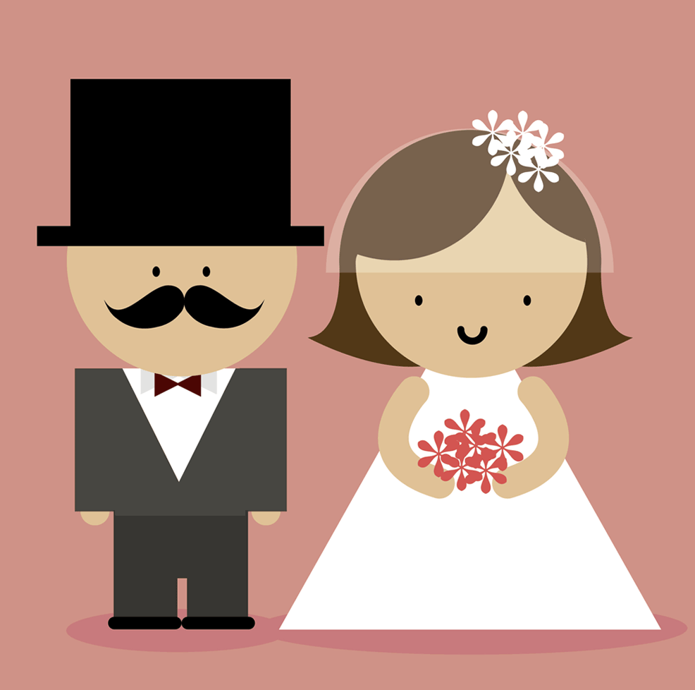 cartoon couple getting married